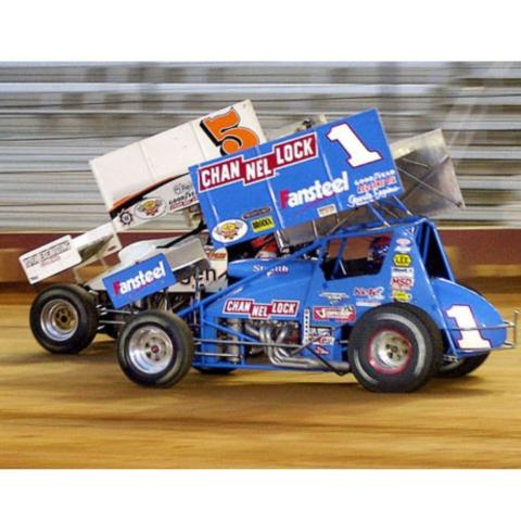 Sammy Swindell (1) took the checkered flag in World of Outlaws victories at BMS in 2000 and 2001.