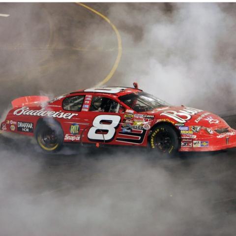 """Dale Earnhardt Jr. yelled """"It's Bristol, Baby!"""" in Victory Lane when he won America's Night Race in 2004."""