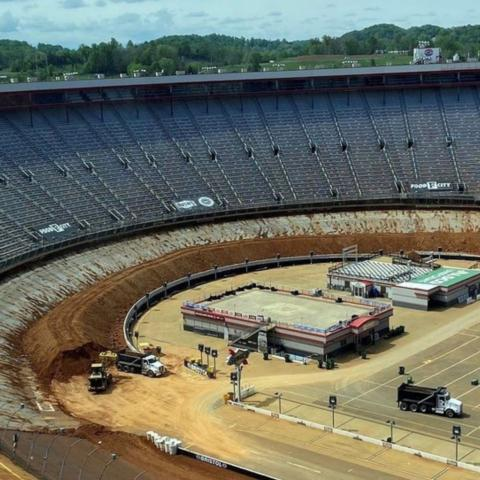 It took BMS construction crews 10 days to remove all of the dirt from the concrete surface, with 7 dumptrucks running around the clock each day. There were 2,386 truckloads of dirt hauled out of the infield to complete the job.