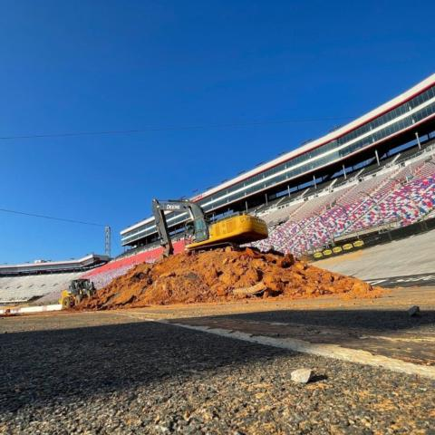 The final pile of dirt being loaded into a dumptruck during the dirt removal process following two months of dirt racing events at Bristol Motor Speedway.