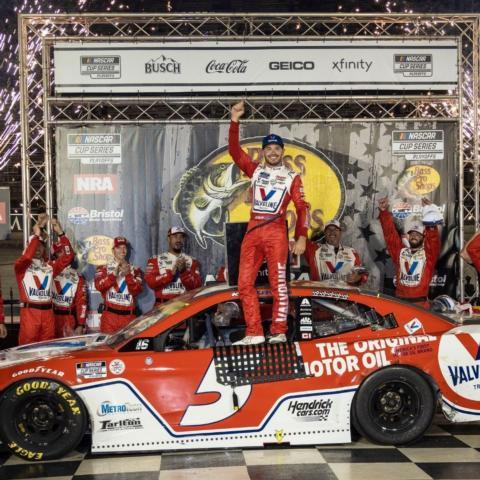 Kyle Larson celebrates in Bristol Motor Speedway Victory Lane Saturday night after winning the Bass Pro Shops NRA Night Race.