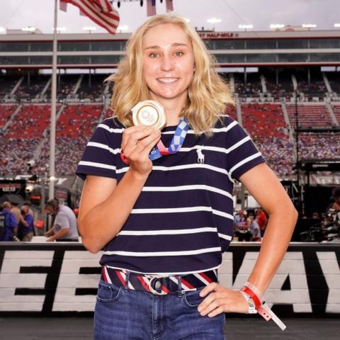 Megan Jastrab was honored during pre-race ceremonies Saturday.