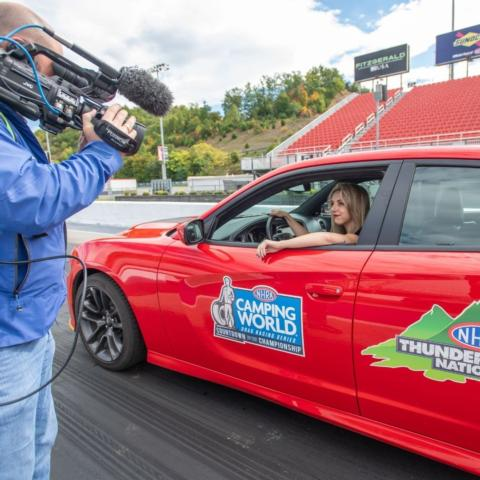 WJHL morning news anchor Sydney Kessler prepares for a run in the NHRA Thunder Valley Nationals Celebrity Drag Race Challenge Wednesday at historic Bristol Dragway.